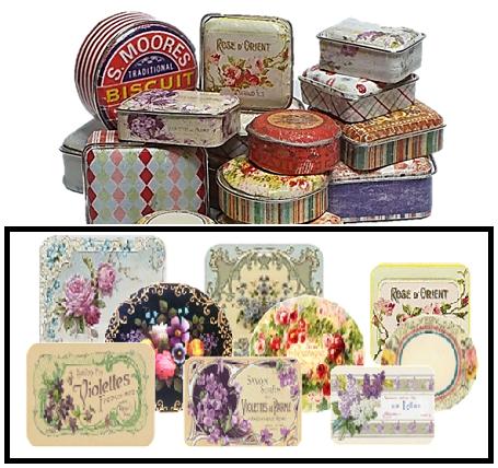 127b Vintage Floral tins